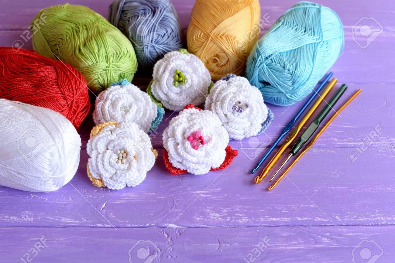 Häkeln Blumen Gesetzt Baumwolle Garn Stränge Haken Von
