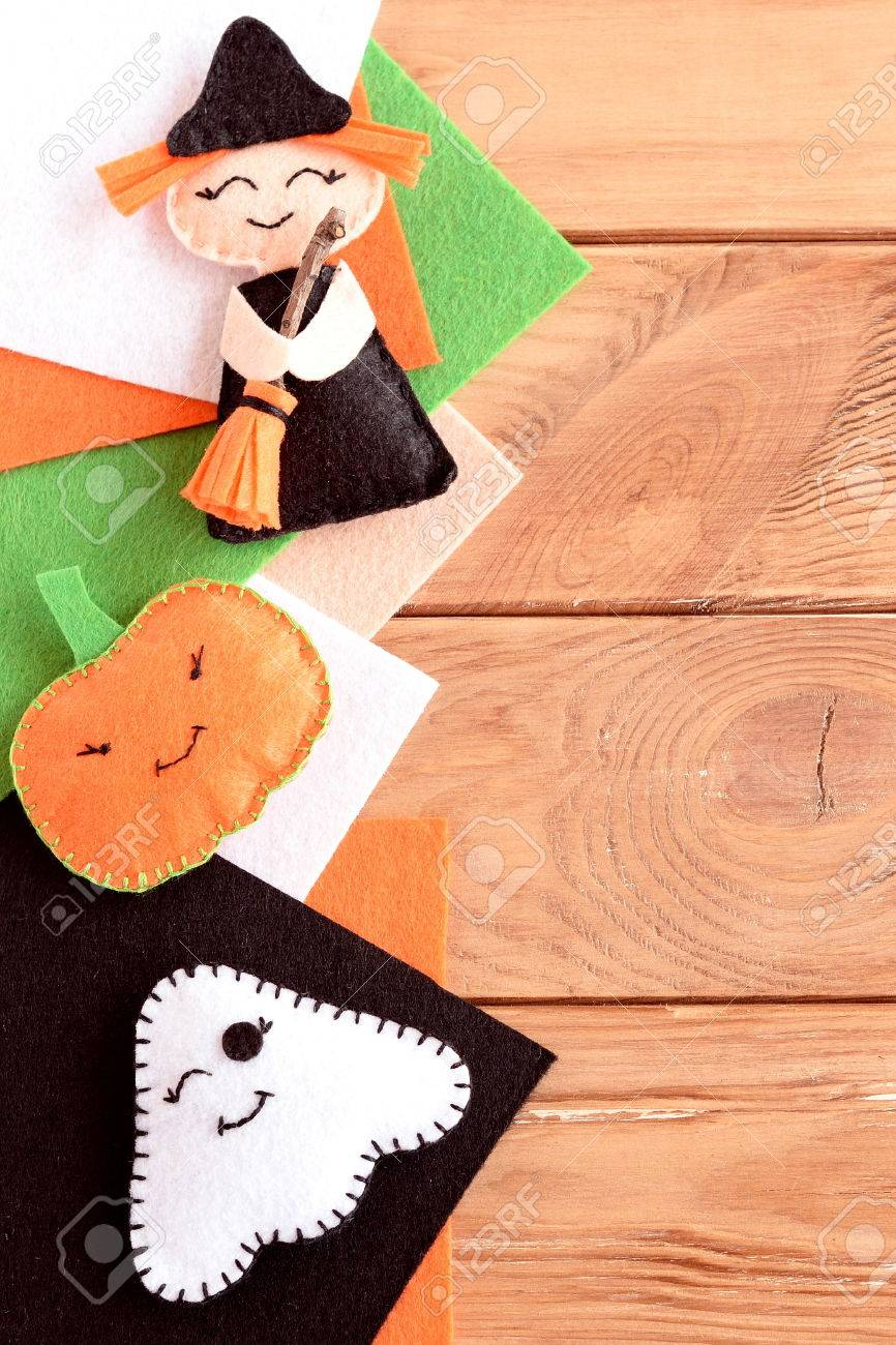 halloween cute felt ornaments home made small witch with broom
