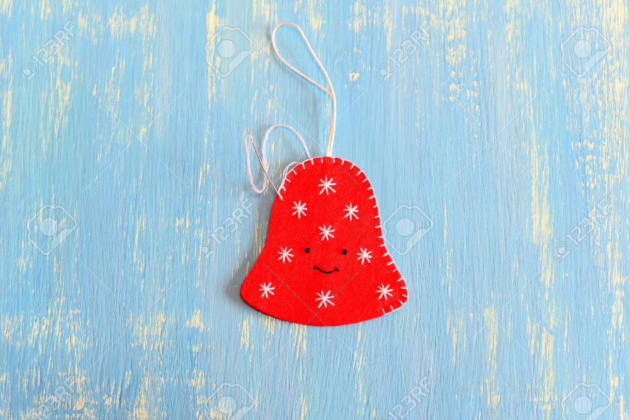 How To Make A Christmas Bell Decor Step Join The Felt Edges Stock Photo Picture And Royalty Free Image Image 66682718