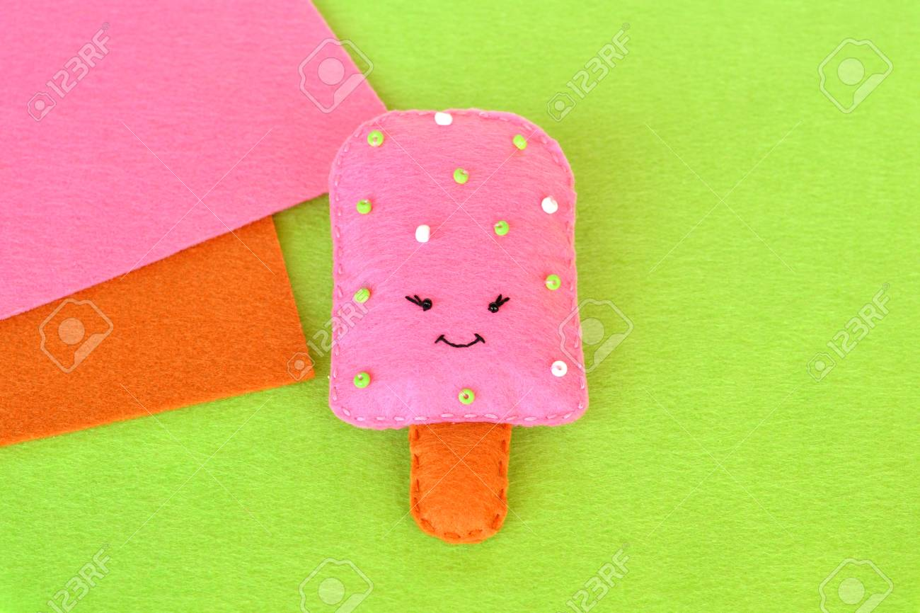 Fun Felt Toy Ice Cream Easy Summer Kids Crafts Stock Photo