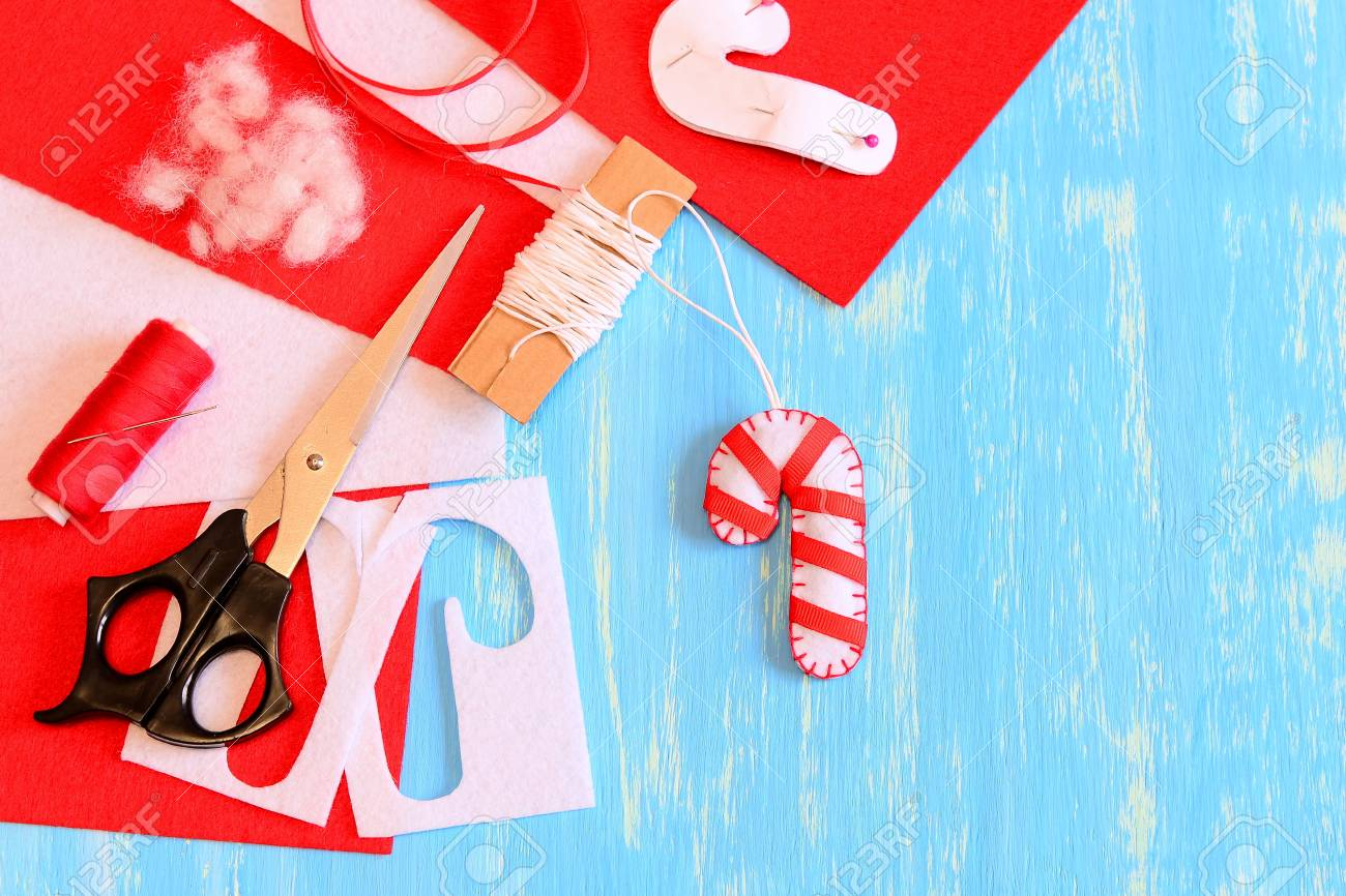 felt christmas candy cane decoration scissors paper template