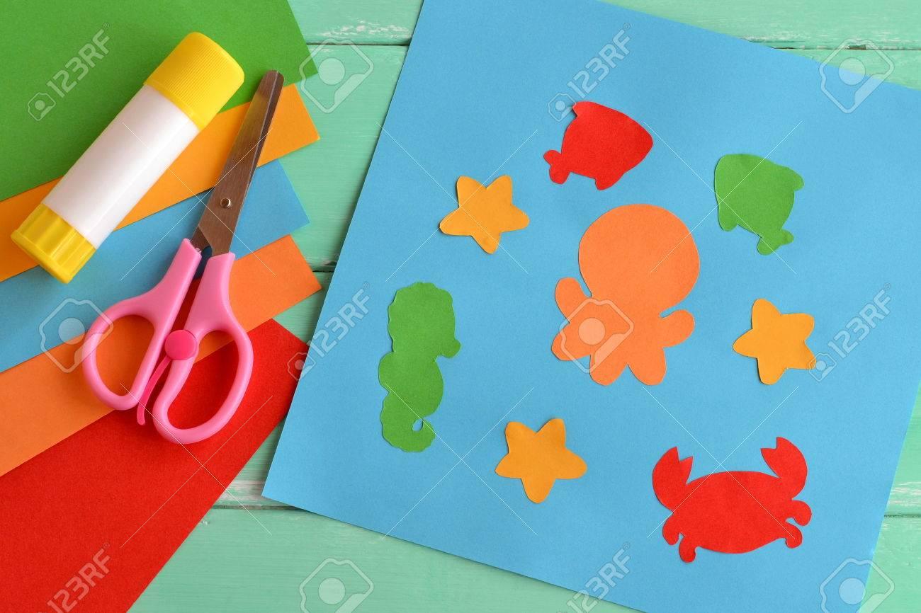 Papier Meeresbewohner Einfach Spass Applikation Kreative Seetier