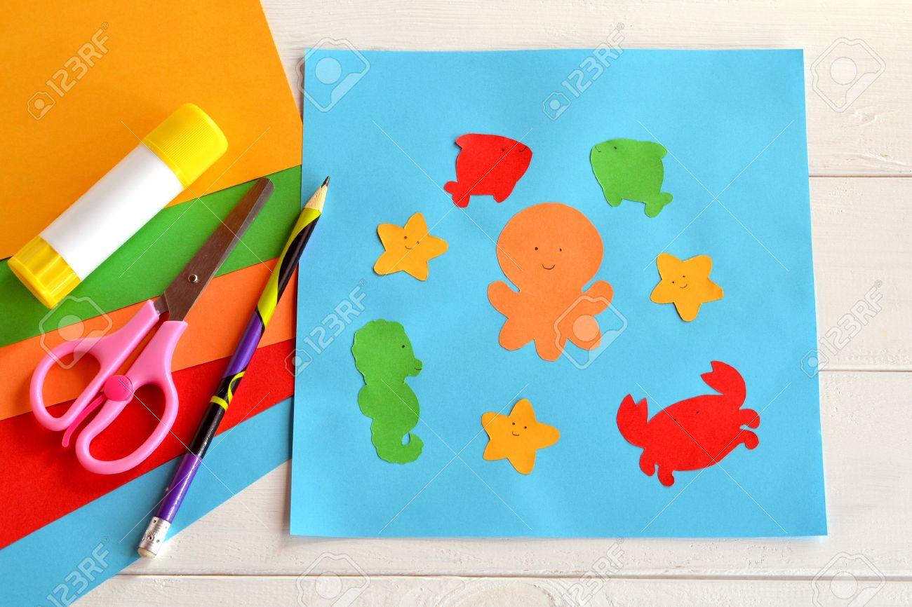 Paper sea animals on blue card  Children applique pattern  Children