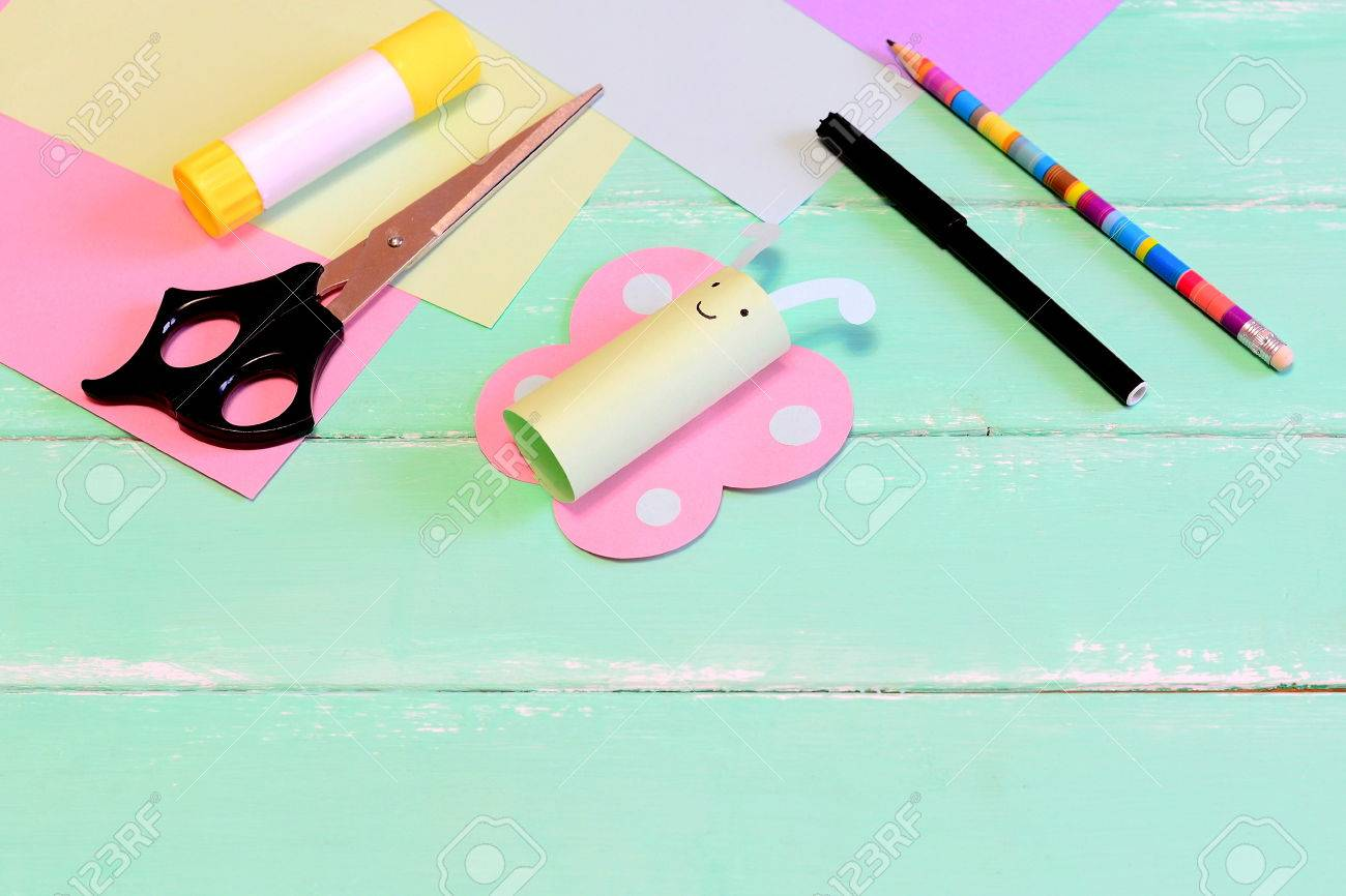 Funny Paper Butterfly Crafts Scissors Marker Glue Stick Pencil Colored