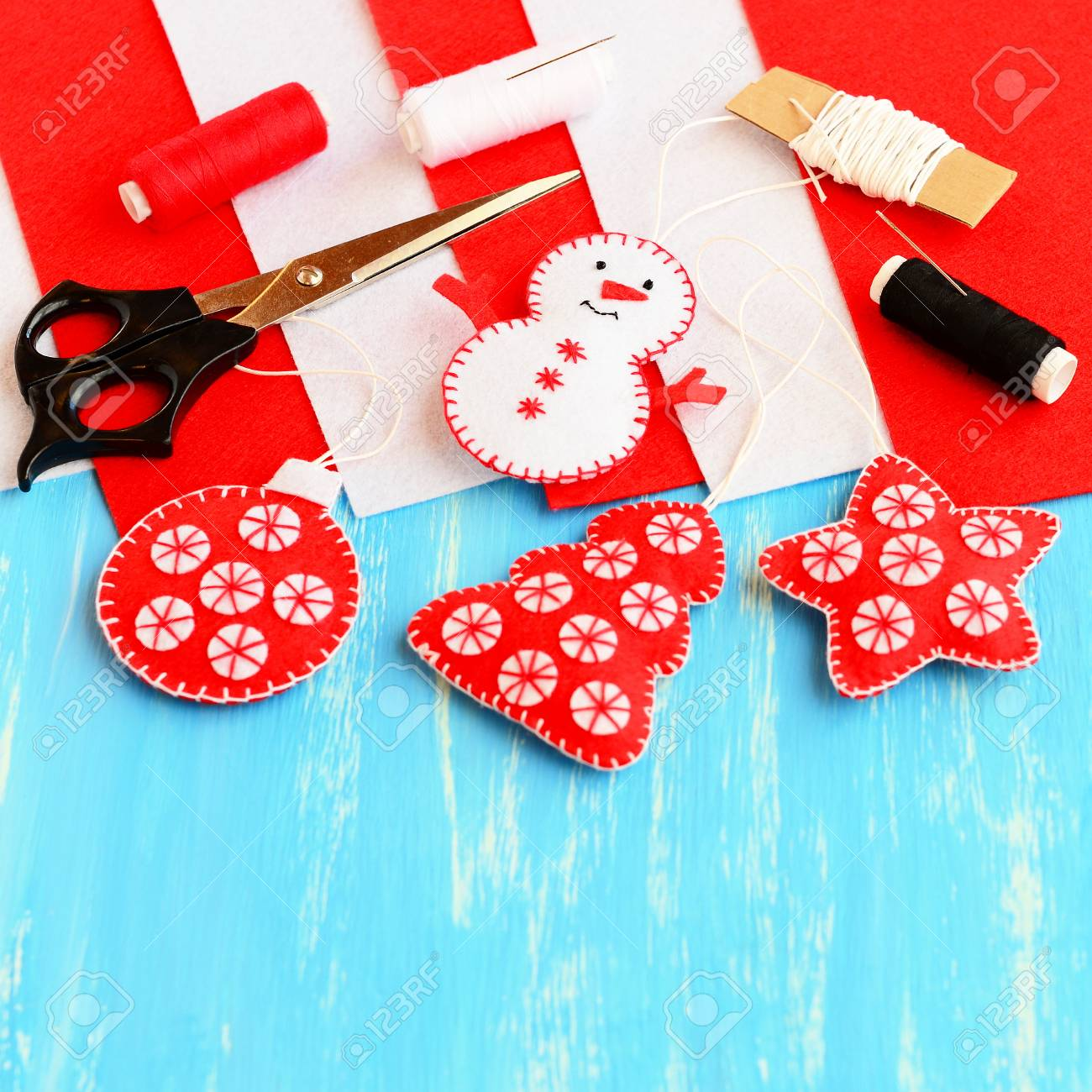 Cute Christmas Tree Decorations Felt Snowman Stock Photo Picture And Royalty Free Image 67180898