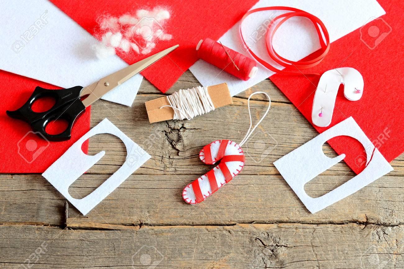 Felt Christmas Tree Candy Cane Ornament Scissors Paper Template