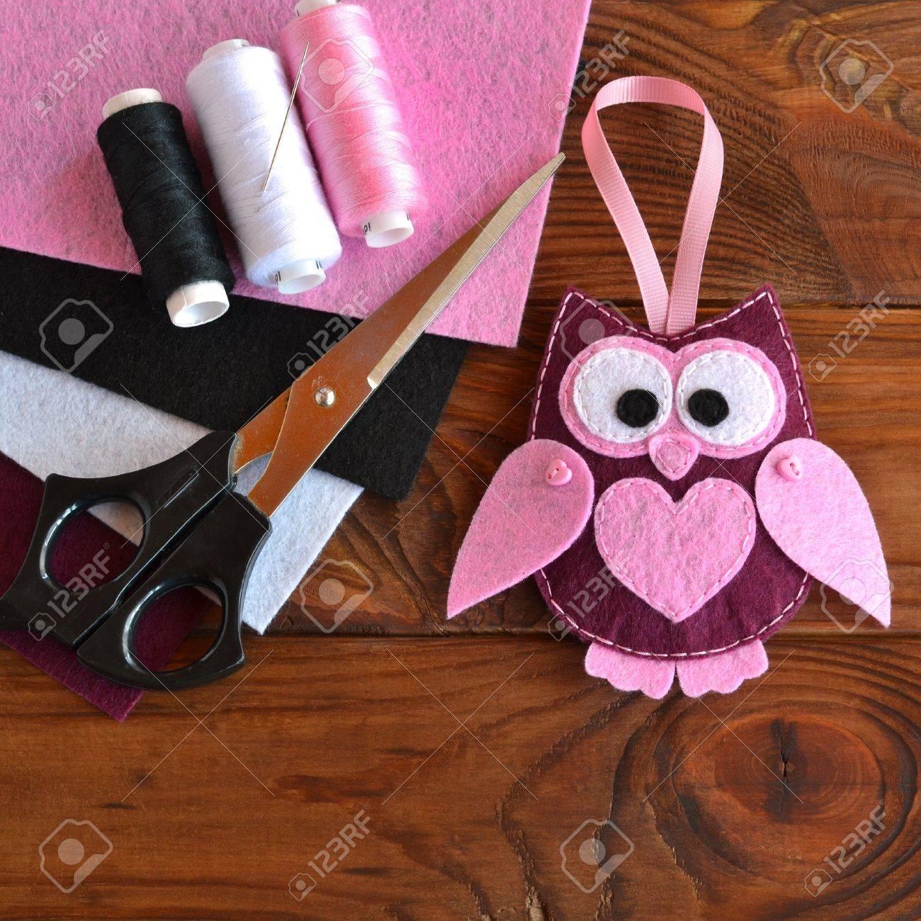 Filz Eule Spielzeug Kinder DIY Handwerk. Blätter Aus Farbigem Filz ...