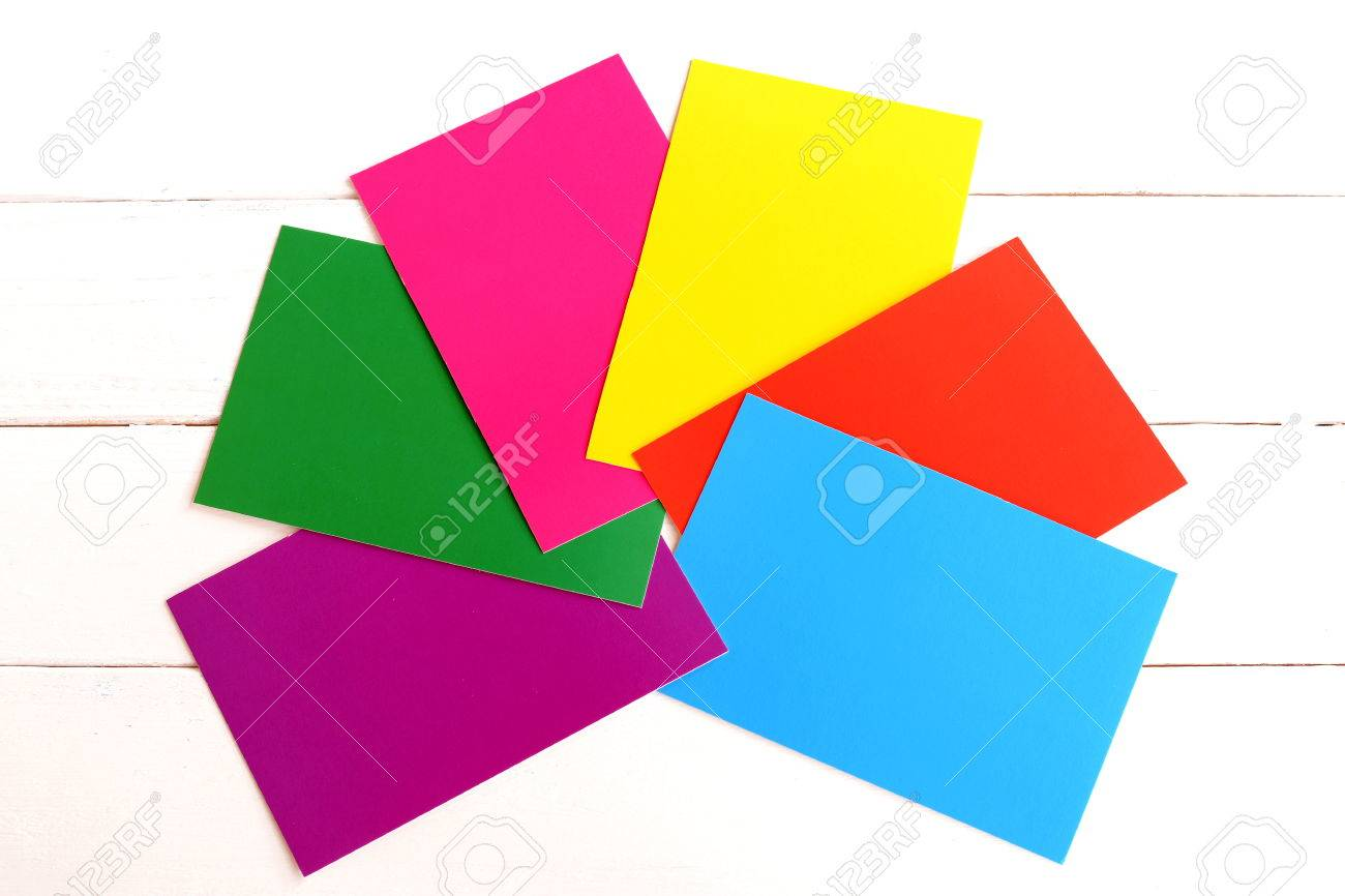 A Set Of Bright Colored Cardboard Isolated On White Background ...