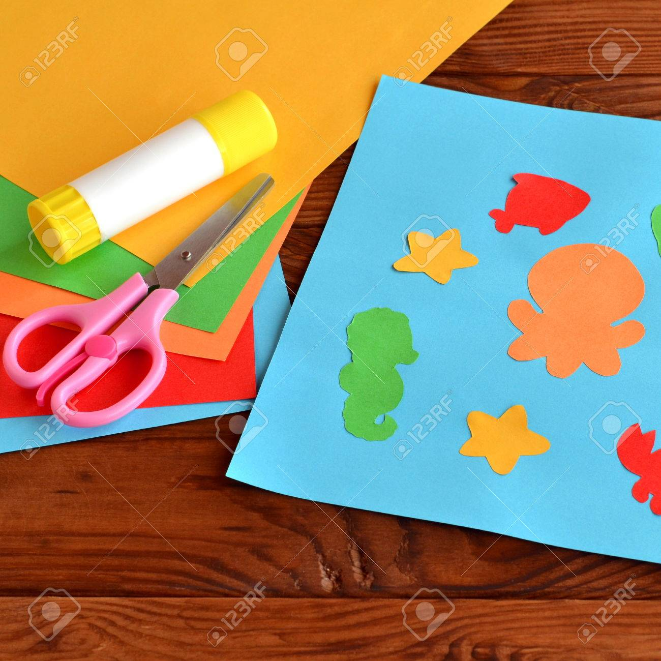 Paper Applique With Sea Animals And Fishes. Art Lesson In ...
