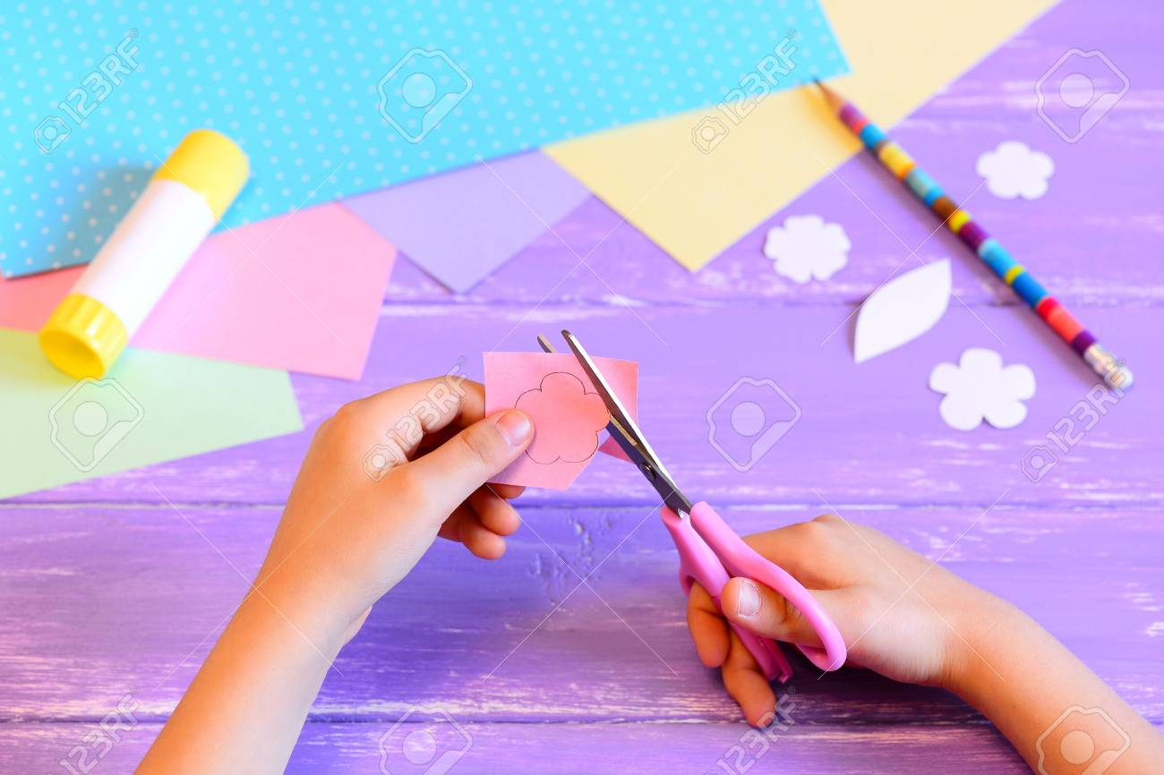 Small Child Creates A Greeting Card For Mom Step Child Holds