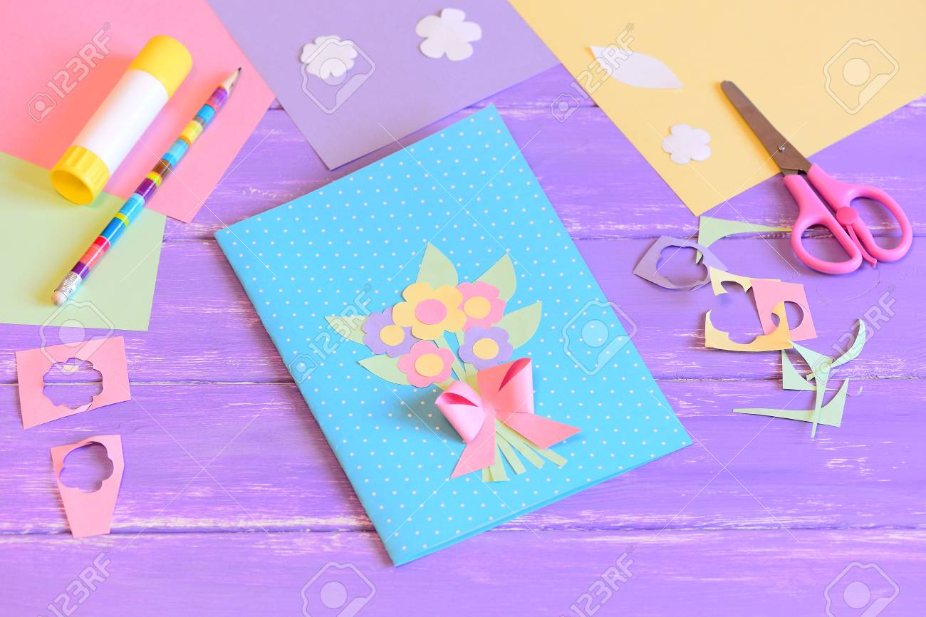 Creating A Greeting Card For Mom Step With Flowers Made Of Colored Paper