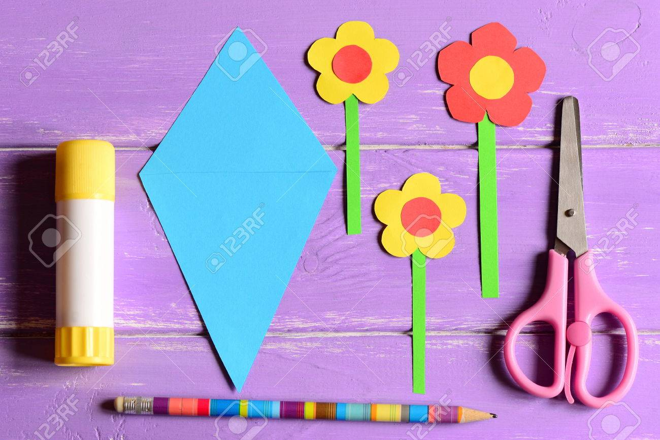 Making Paper Crafts For Mothers Day Or Birthday Step Flowers Scissors