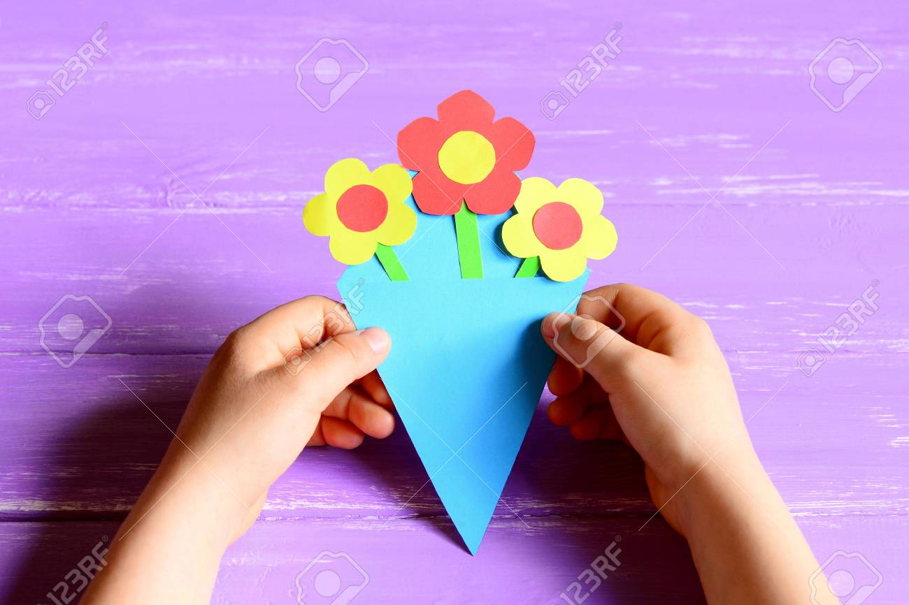 Small Child Made Paper Flowers For Mother S Day Or Birthday