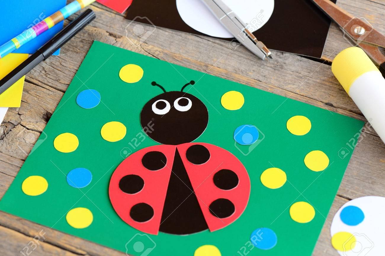 Ladybug paper collage  Ladybug card, stationery on a vintage