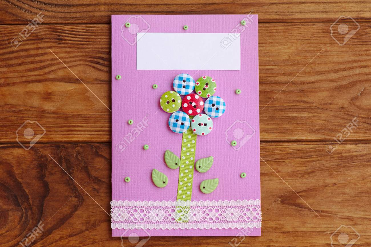 Mothers Day Or Mom Birthday Greeting Card With Flower Isolated On A Wooden Background Easy Handmade To Make In School At Home
