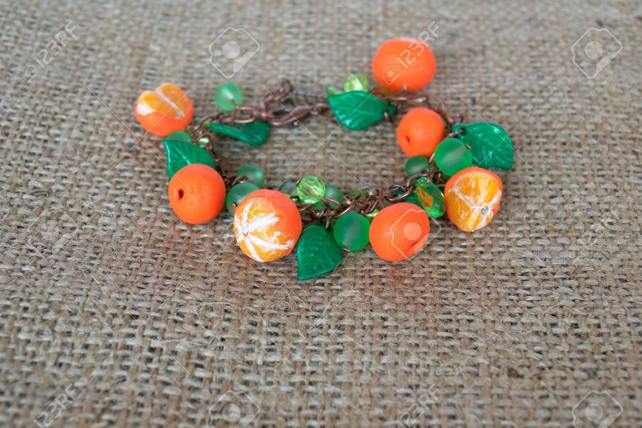 Original Bracelet With Polymer Clay Mandarines And Plastic Beads ...