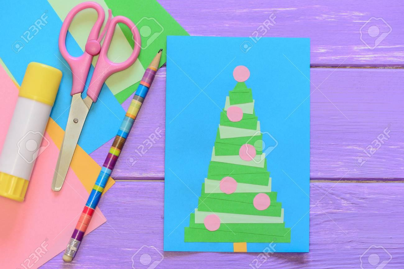 Christmas Card Greeting Idea.Easy Homemade Christmas Card Scissors Glue Stick Pencil Colored
