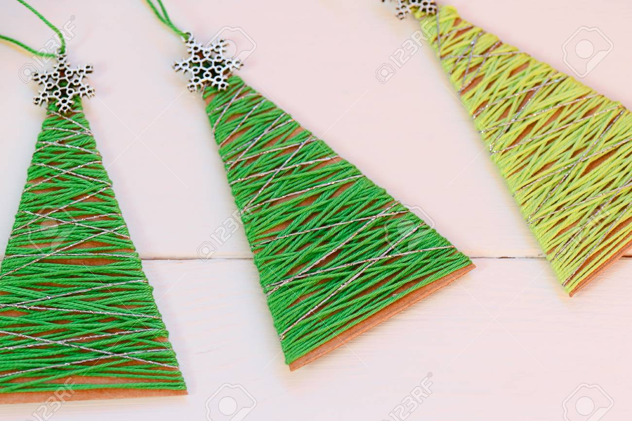 Christmas Trees On A Wooden Table Creative Christmas Trees Made