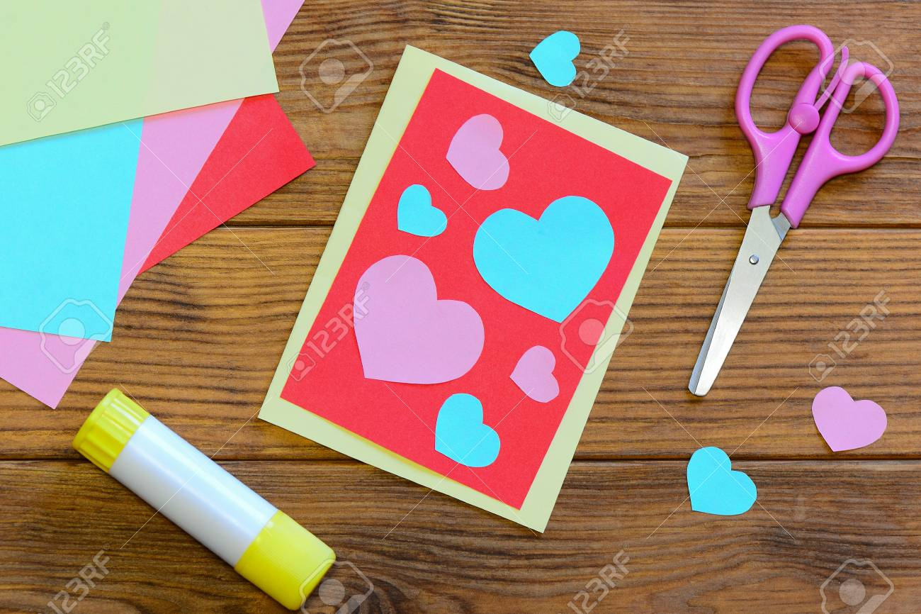 Nice Valentines Day Card With Paper Hearts Scissors Glue Stick
