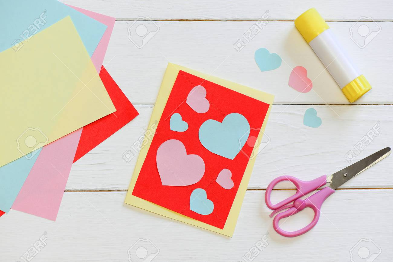 Valentines Day Or Mothers Day Card With Pink And Blue Hearts
