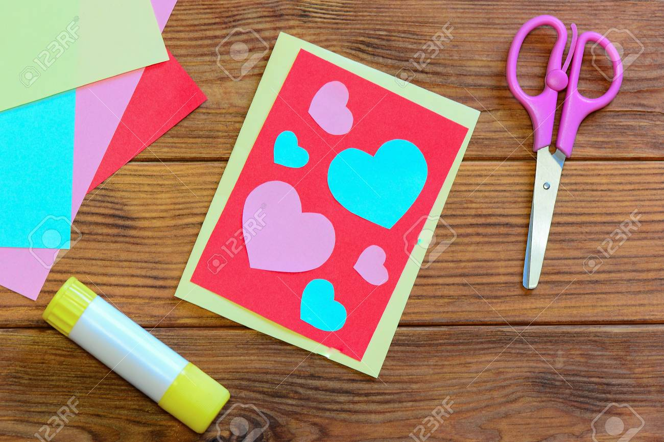 Valentines Day Or Mothers Day Postcard With Pink And Blue Hearts