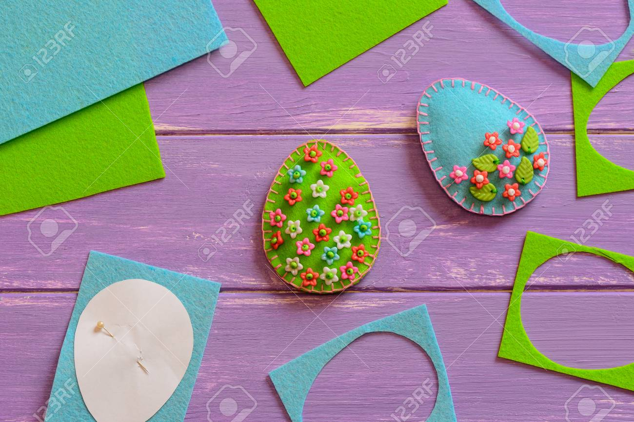 Art easter egg ornaments with flower flowers and leaves felt easy sewing projects for gifts art easter egg ornaments with flower flowers and leaves felt eggs with floral pattern negle Gallery