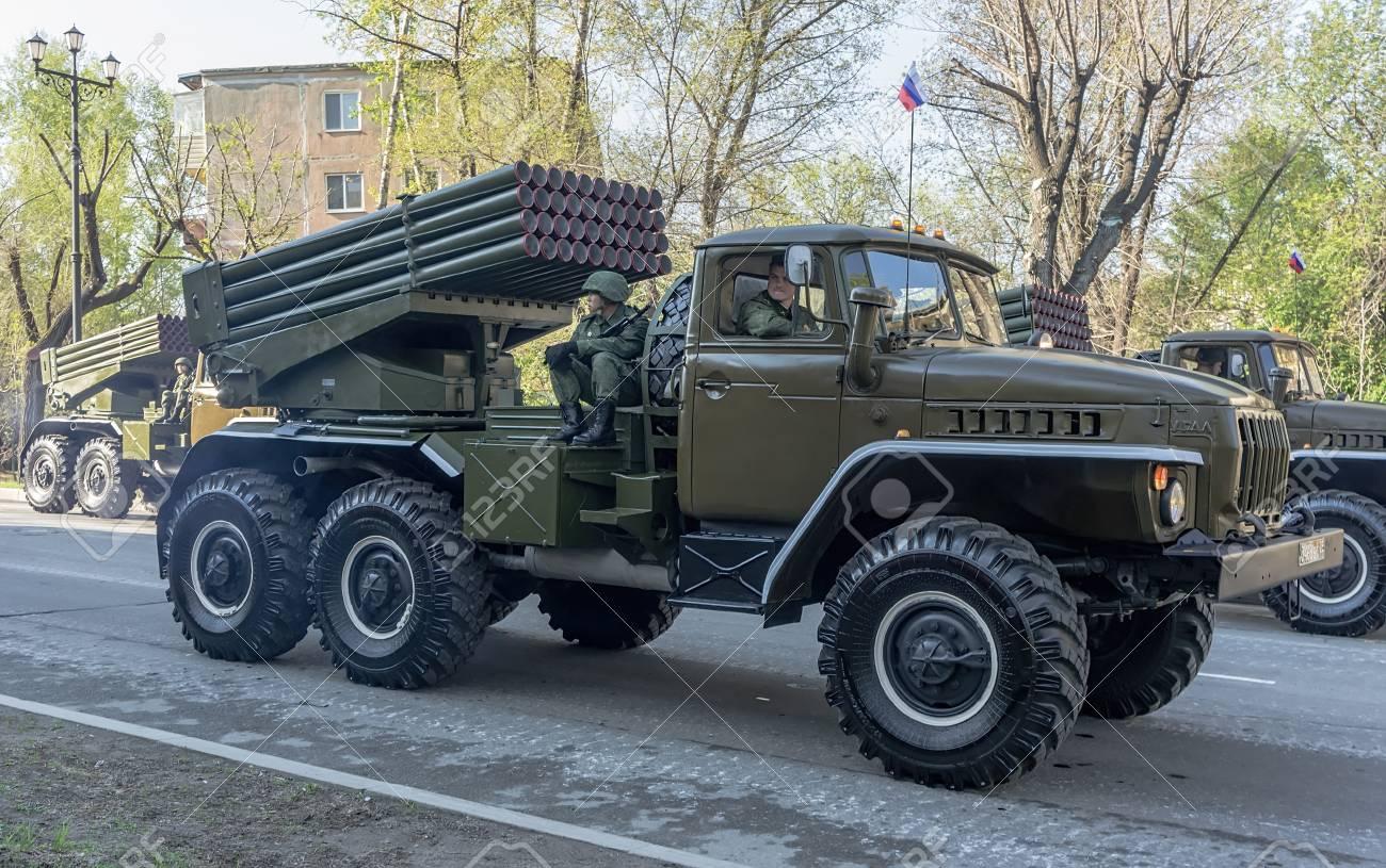 RUSSIA, KHABAROVSK, 09 05 2014: Russian BM-21 Grad Multiple Rocket