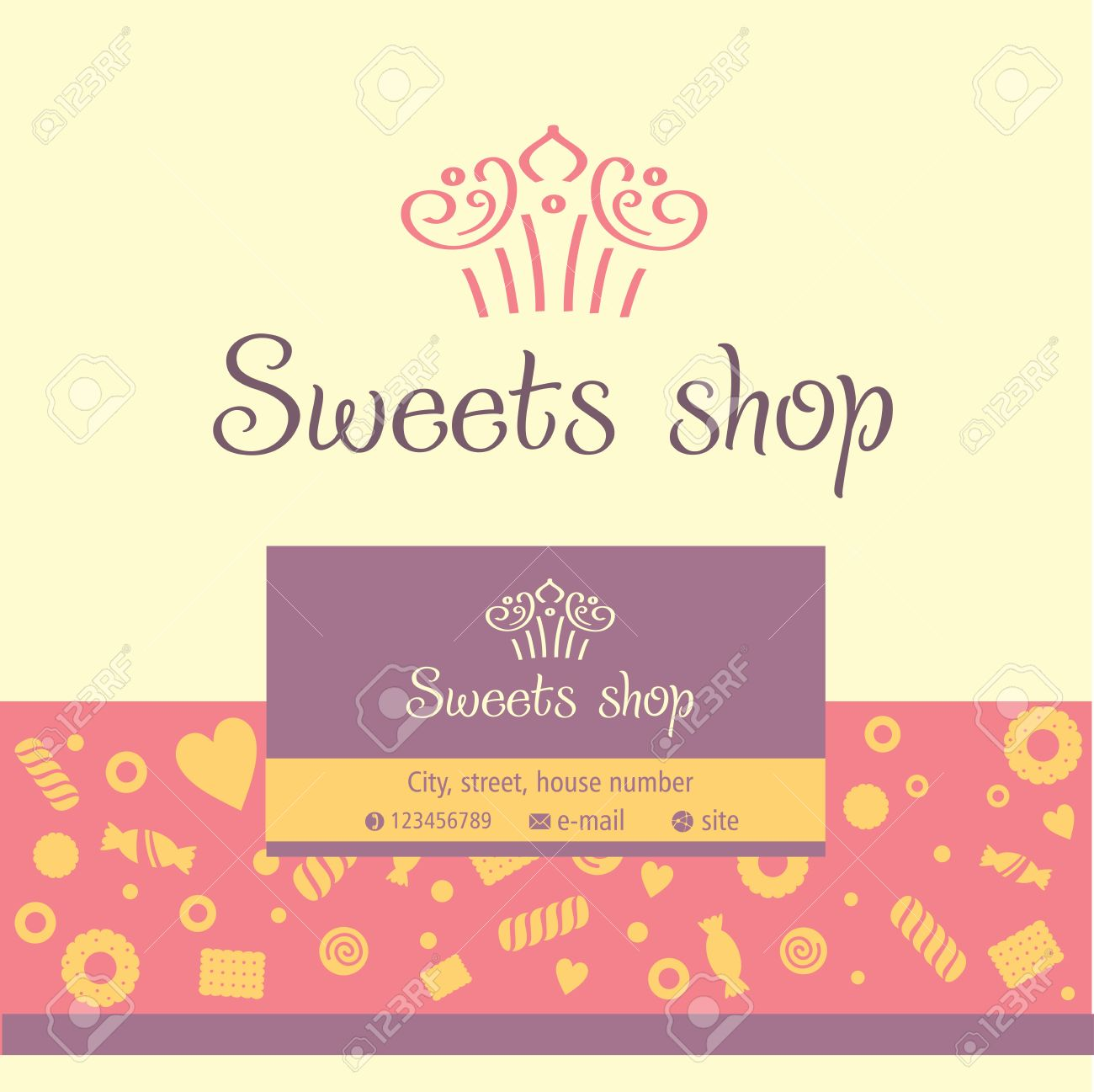 Vector Logo, Business Card For A Candy Store. Background Of Sladstey ...