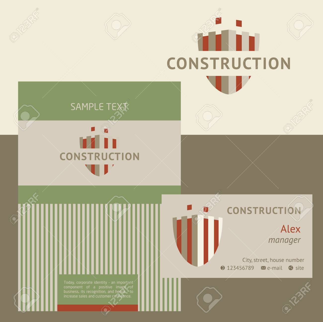 Vector Logo, Business Card And Cover For Construction Companies ...