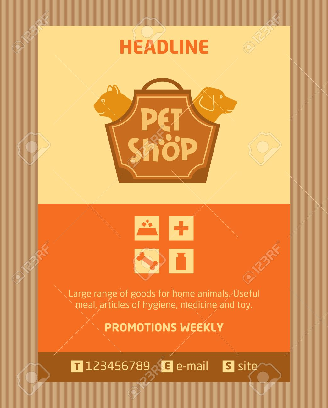 Logo For Pet Shop Brochure Flyer Design Vector Template In