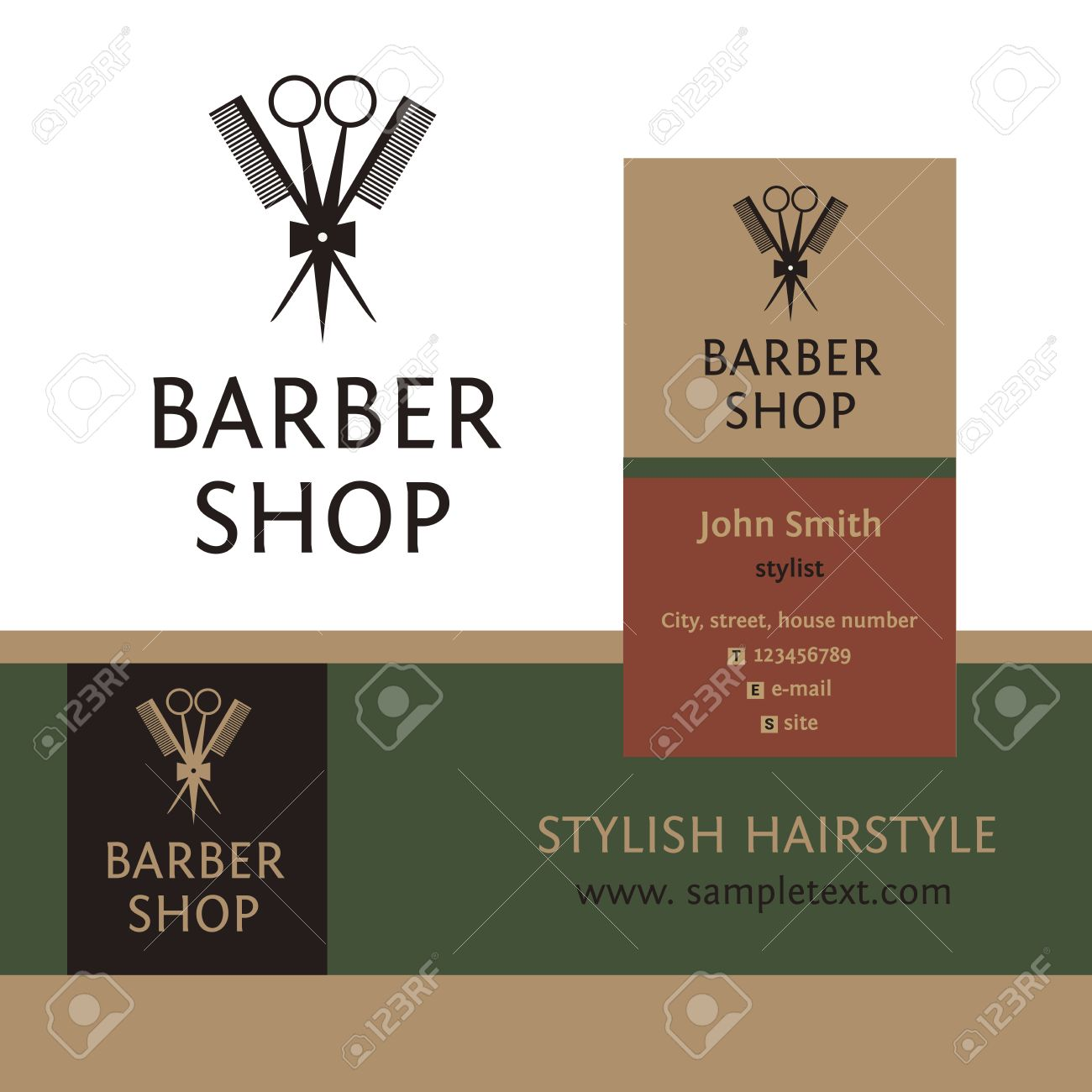 Vector Heraldic Logo For A Hairdressing Salon. Business Card ...