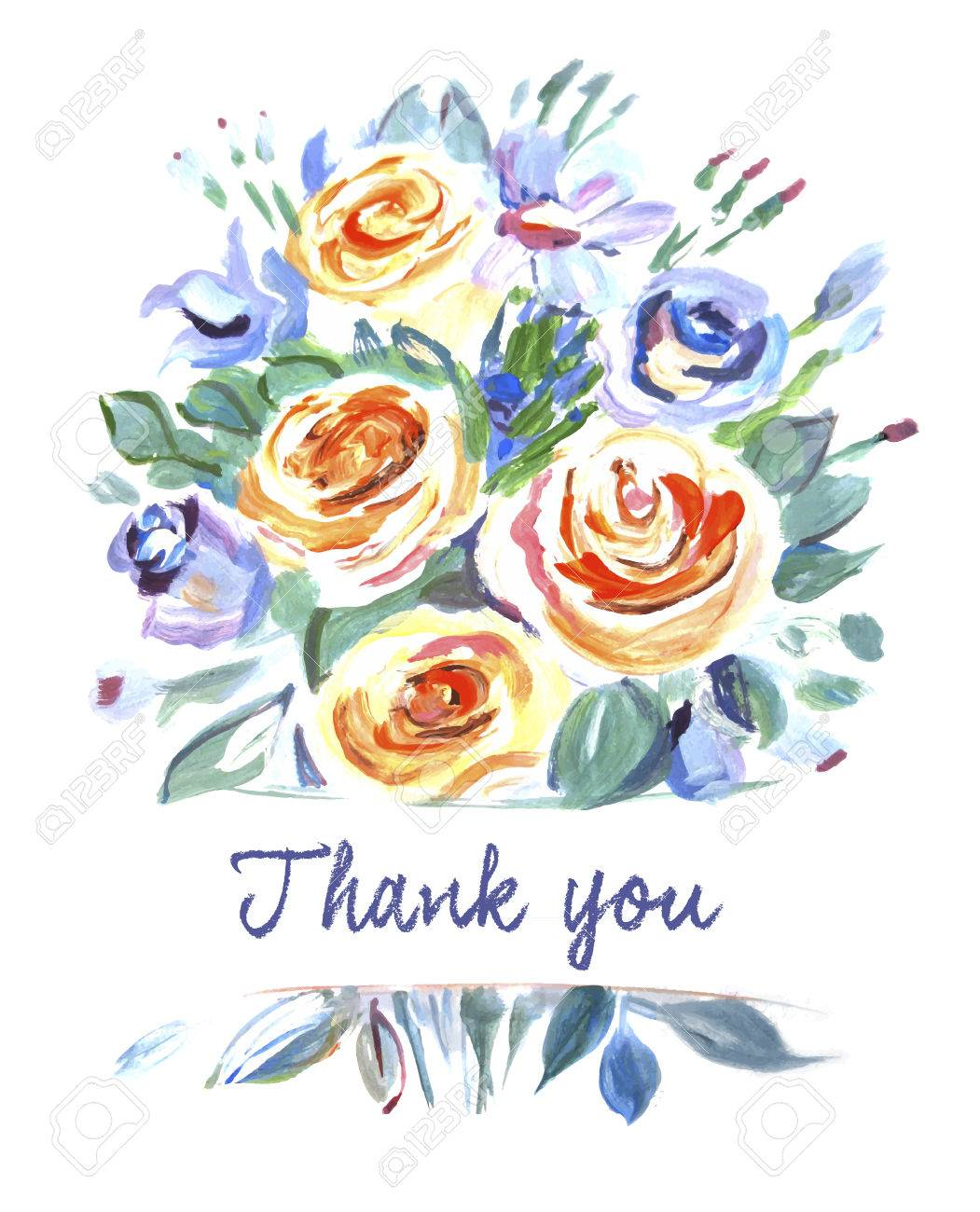 Vector Card With A Bouquet Of Flowers Thank You Painting Orange