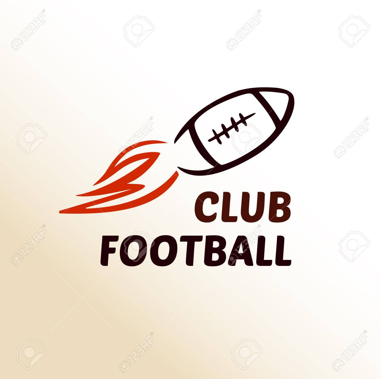 Vector Logo Template Football Club Rugby The Ball Is In Motion