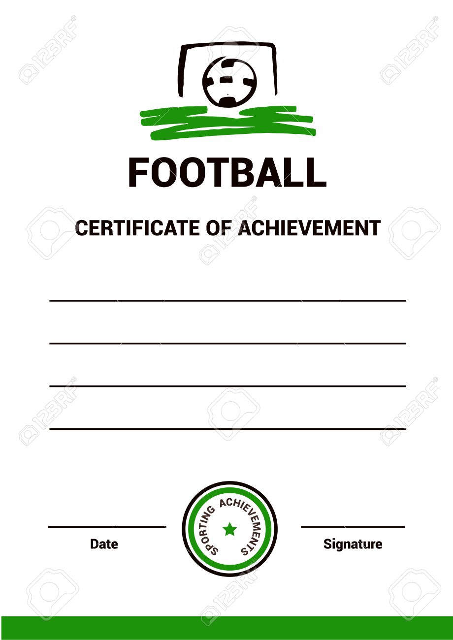 Vector Certificate Template, Diploma, Football, Simple, Modern ...