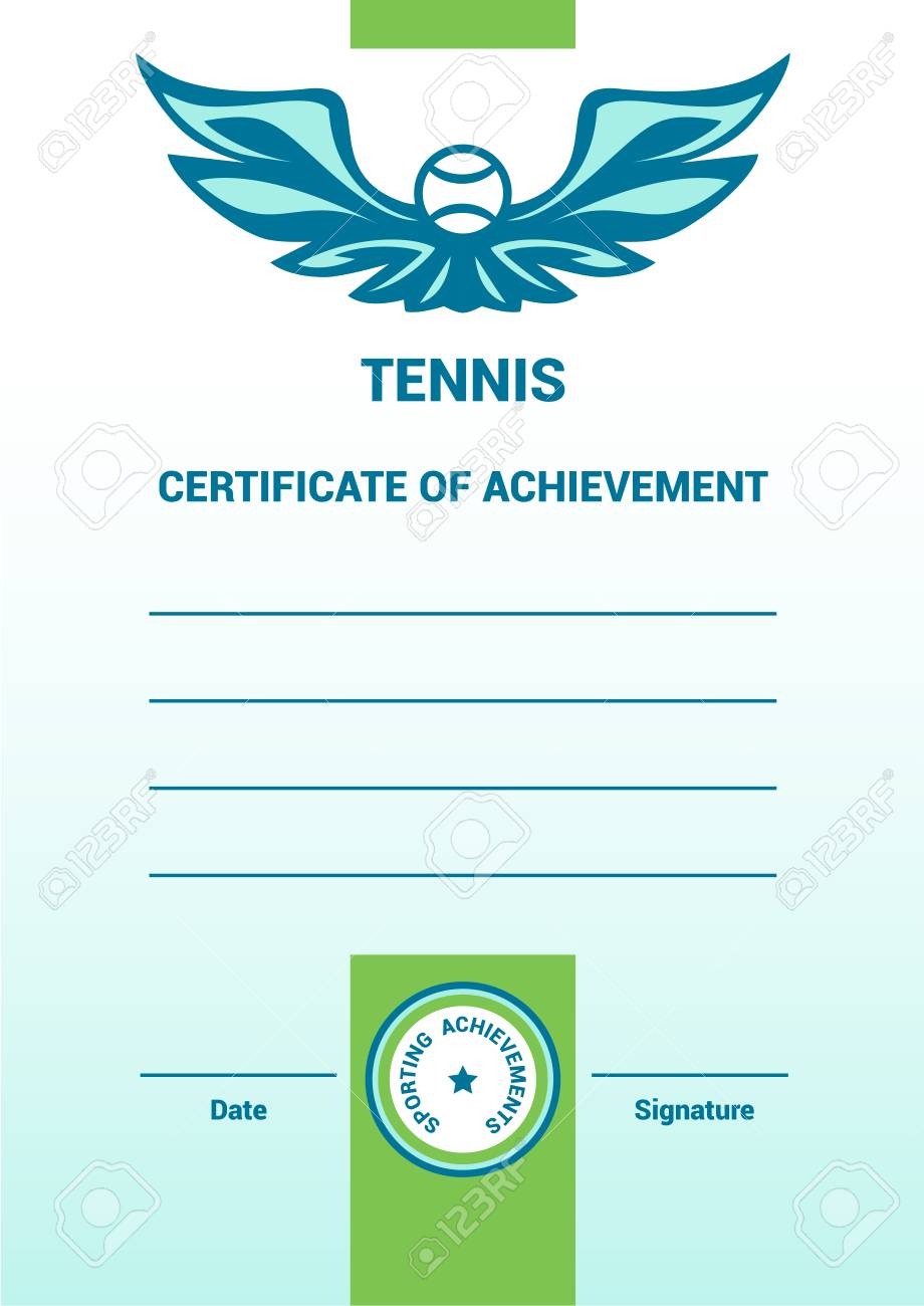 Vector Template Certificate Diploma Tennis Simple Modern