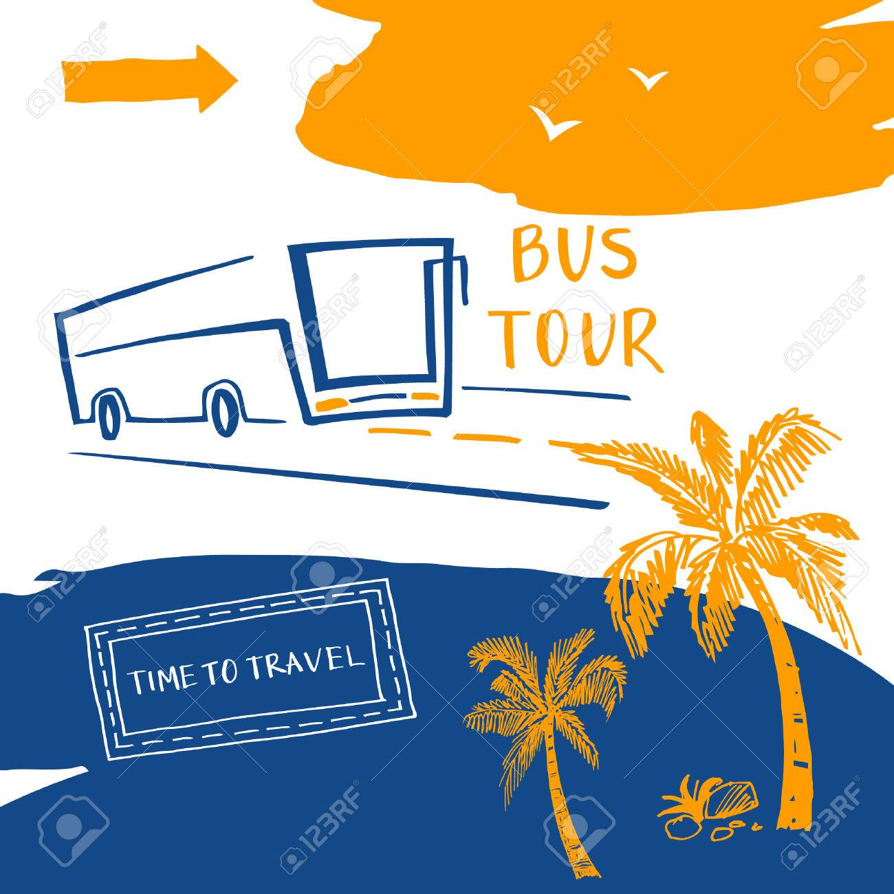Poster For The Travel And Tourism Resort Bus Agency Vector Background Summer