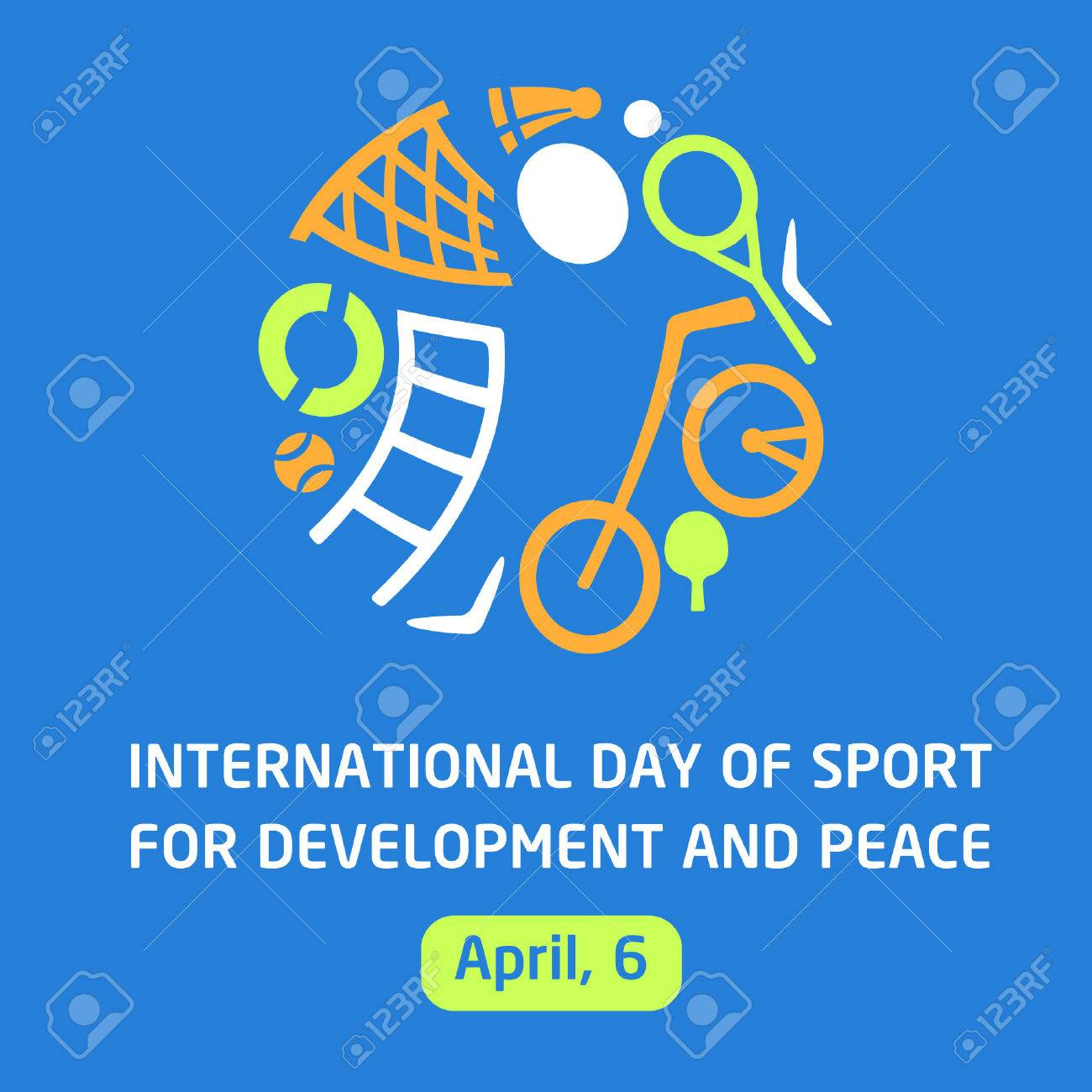 Vector logo for childrens sports school, club, shop for sports, competition sports. Silhouettes of a man sporting equipment. Various sports. International day of sport for development and peace. The symbolism, conceptual and brevity. - 54362170