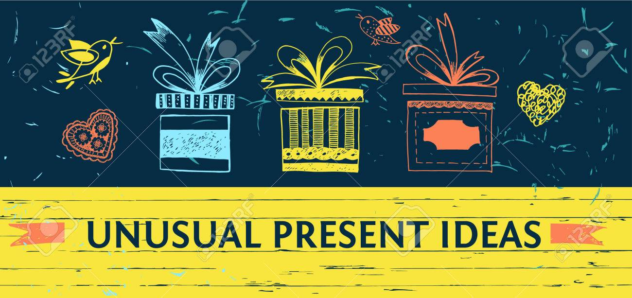 Banner For Gift Shop. Unusual Ideas Presents Store. Color Vector ...