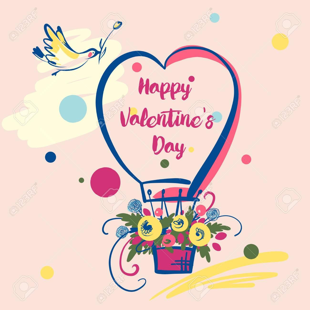 Illustration Mit Ballon Blume Und Vogel Text Glucklicher