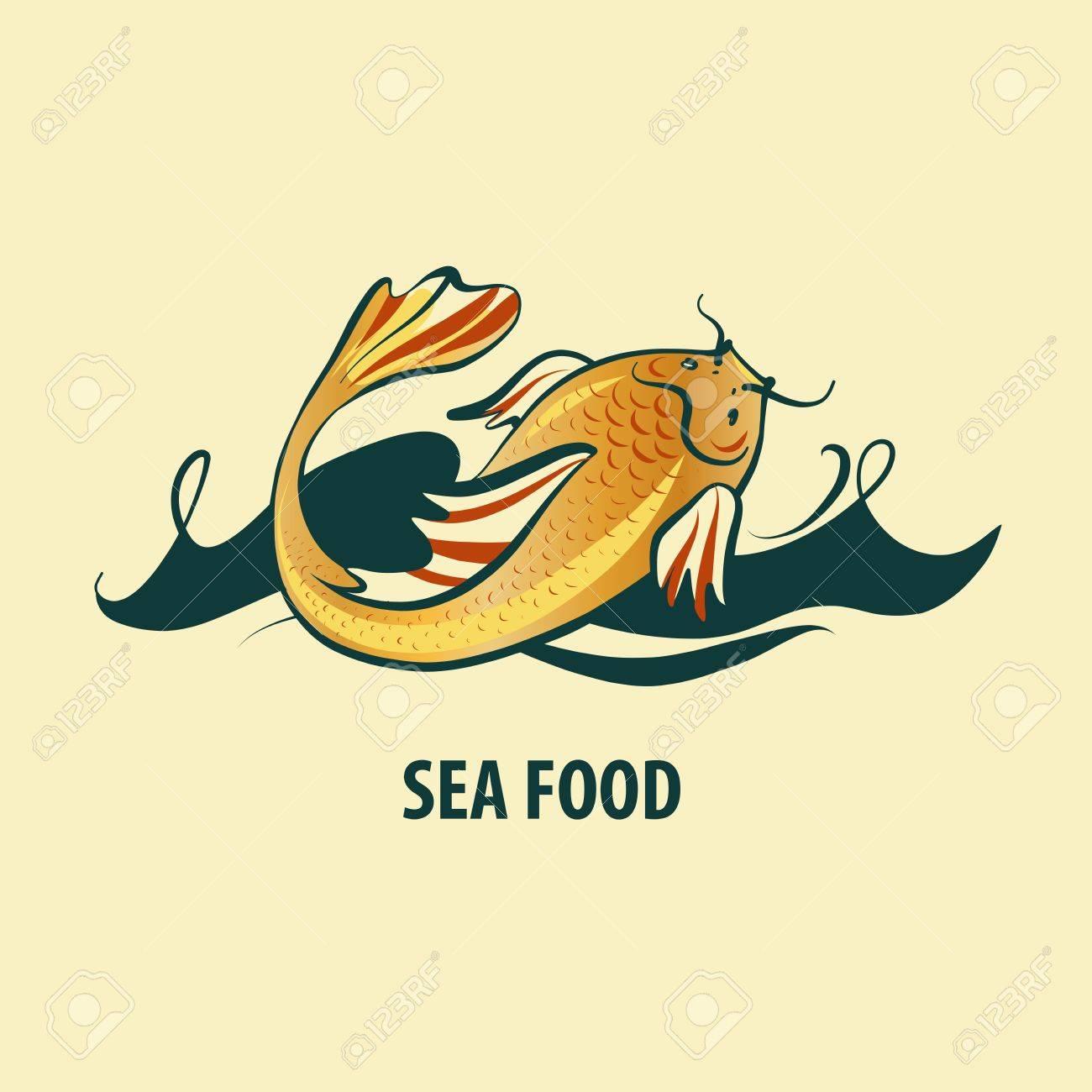 Carpa Koi En Ola De Mar Sobre Fondo Claro. Logotipo De La Plantilla ...