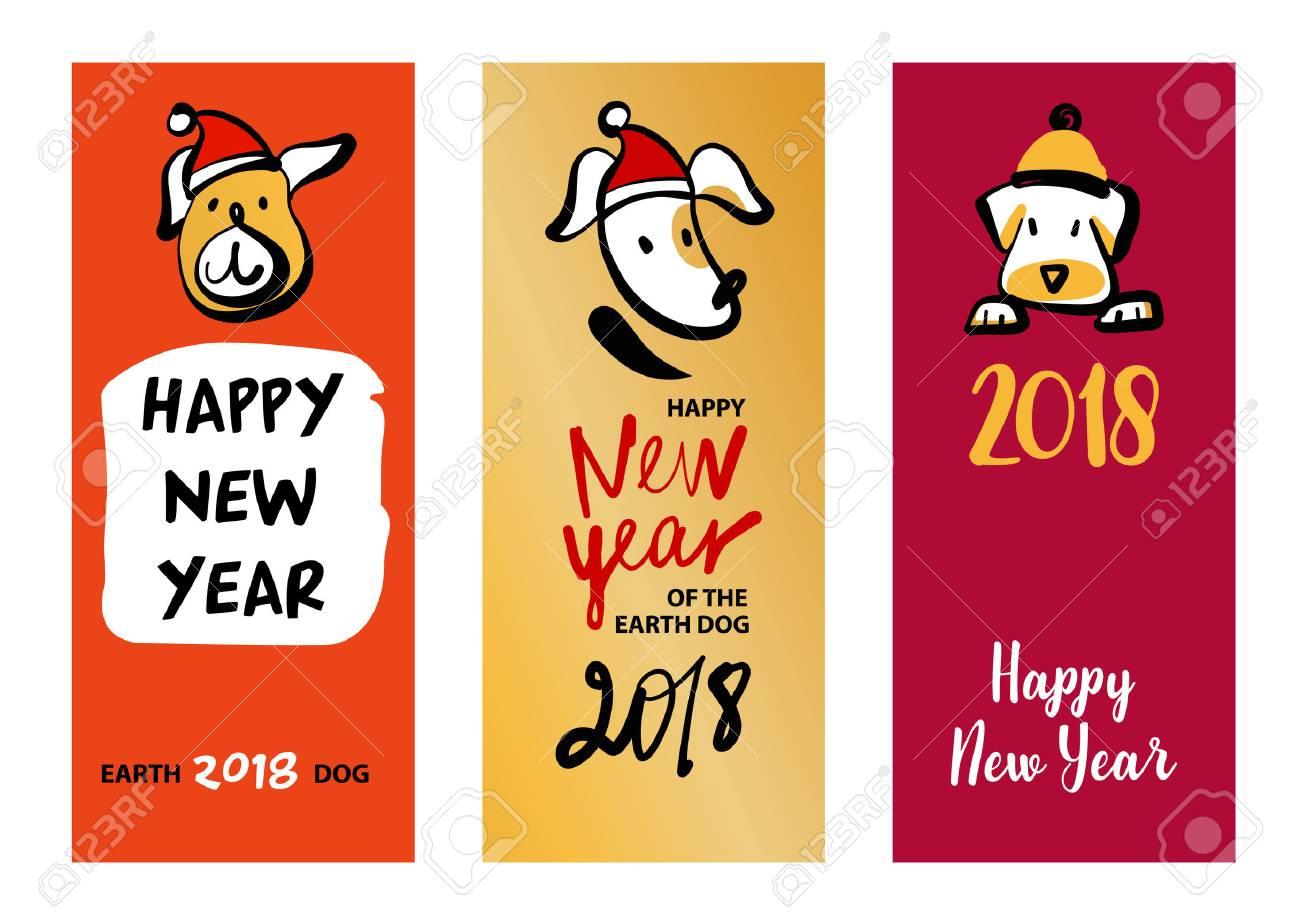 Set Of Three Sketch Image Dog Puppy Symbol Chinese Happy New