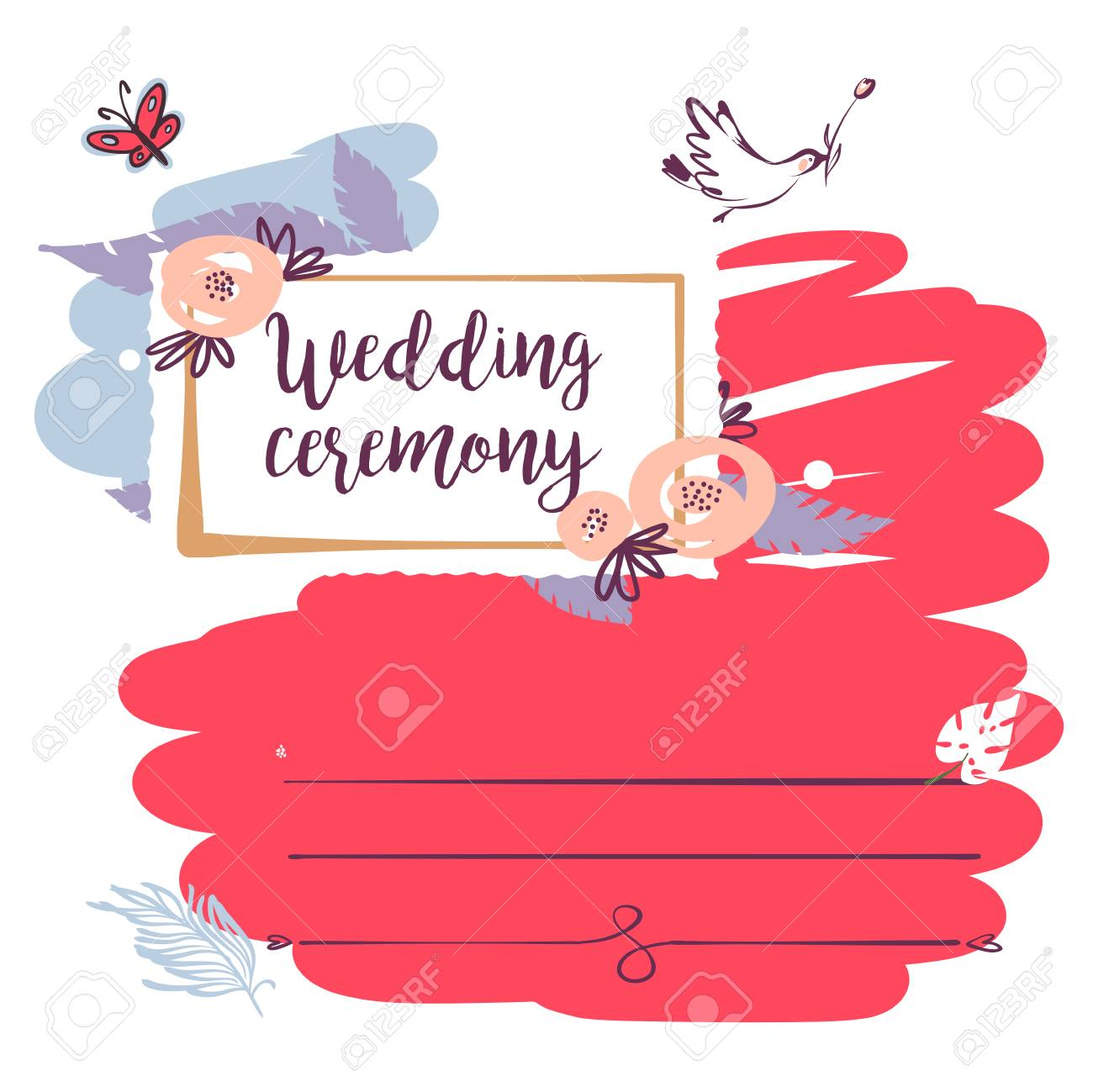 Wedding Ceremony. Template Banner, Poster, Invitation Card, Logo ...