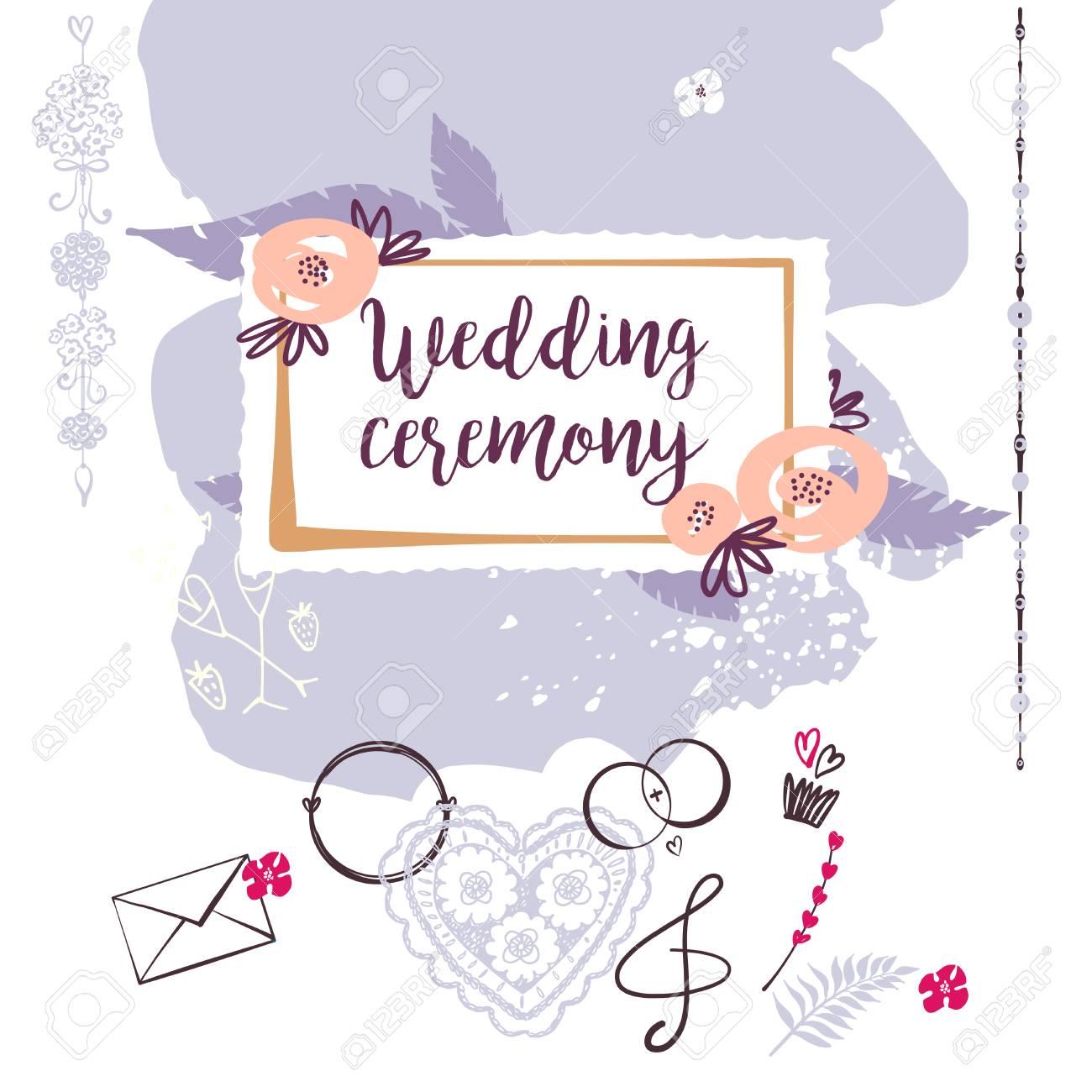 Wedding Ceremony. Template Banner, Poster, Invitation Card, Logo ...