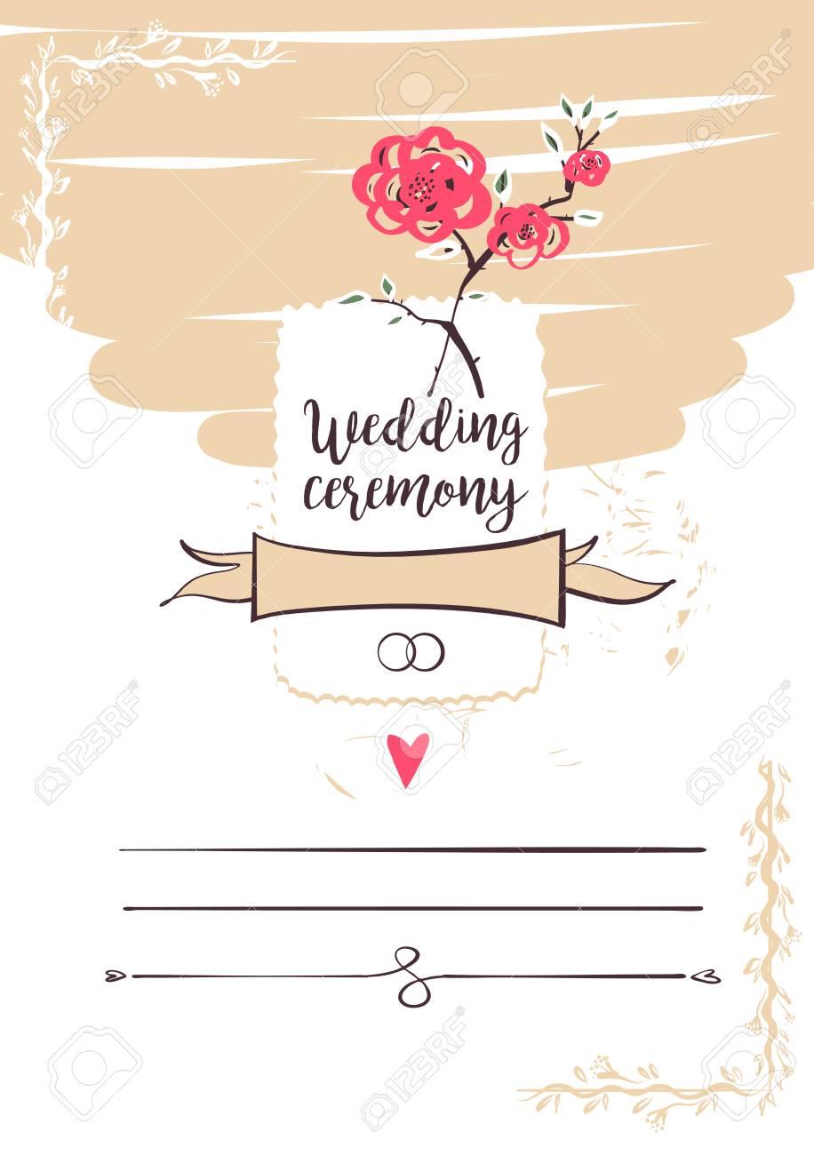 wedding ceremony template banner poster invitation card logo