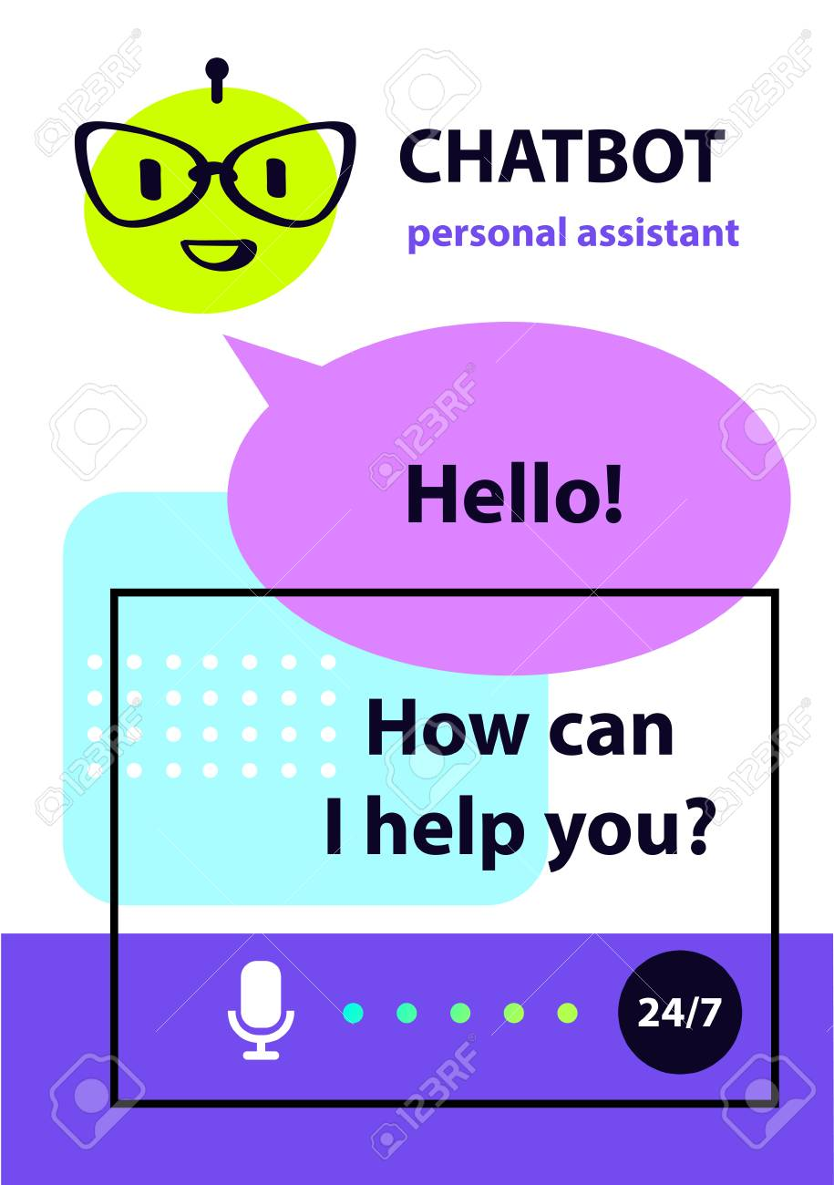 Personal assistant concept robot chatbot, sketch head avatar