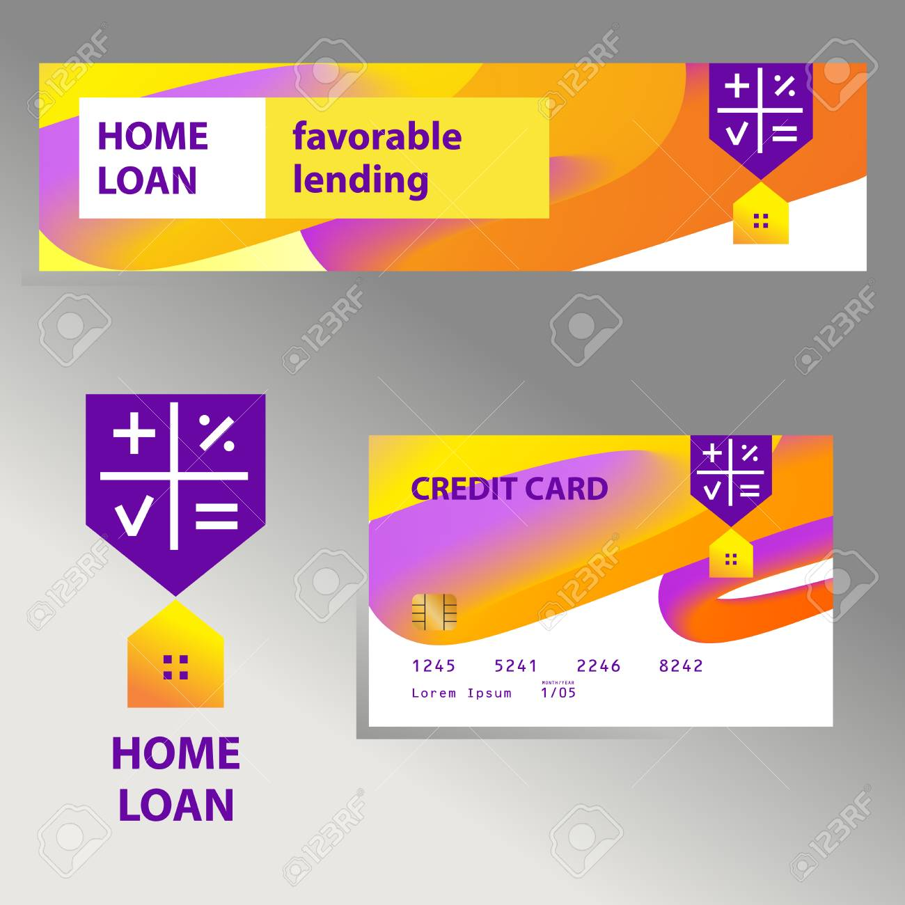 Home Loan Template Financial Sign Logo Badge With Plan House