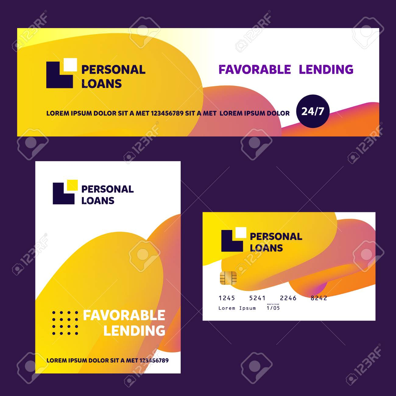Template Financial Sign Badge With Plan House Home Loan Vector