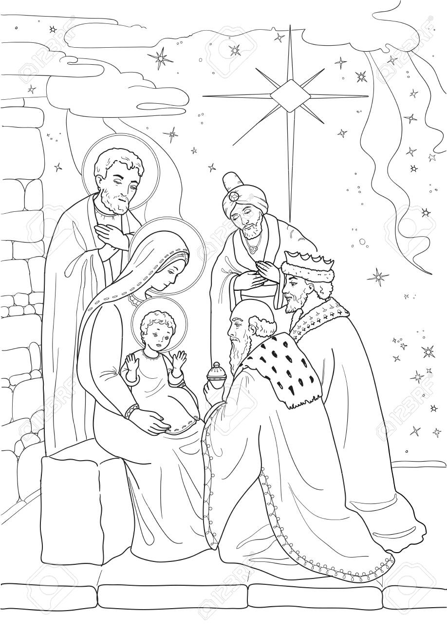 Christmas Coloring Page With Baby Jesus Mary Joseph Three Royalty Free Cliparts Vectors And Stock Illustration Image 136609304