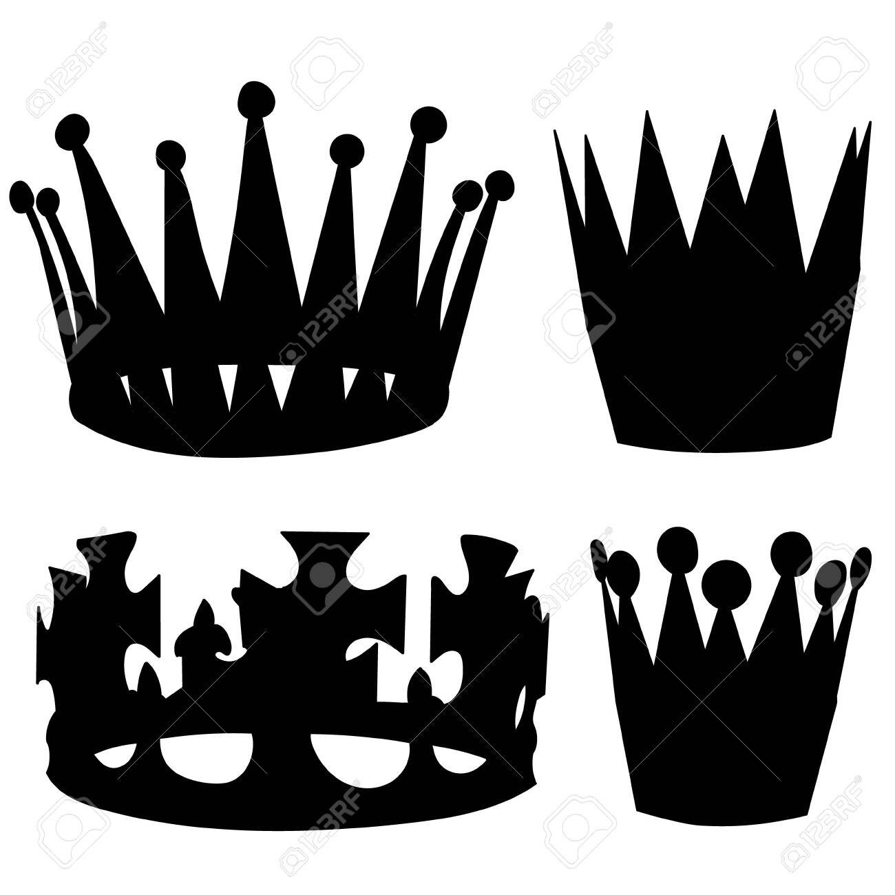 vector, on white background, set, crown silhouette collection - 149847629