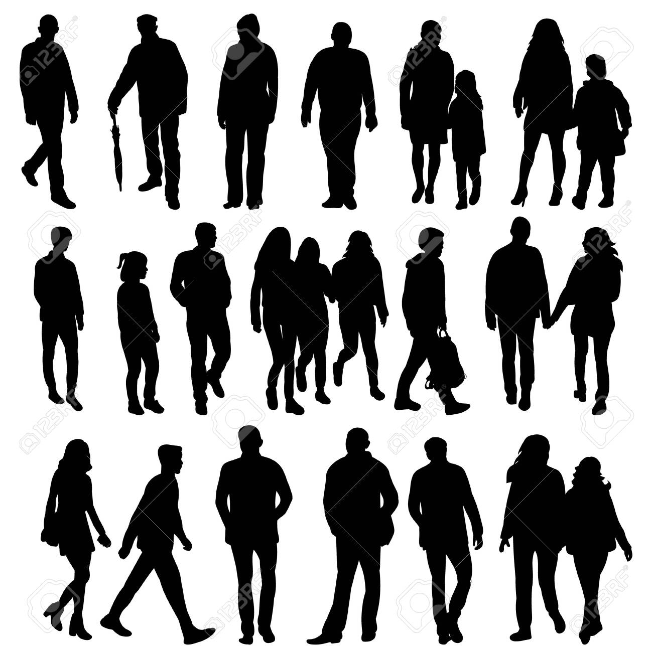 isolated collection of silhouettes of walking people - 150125818
